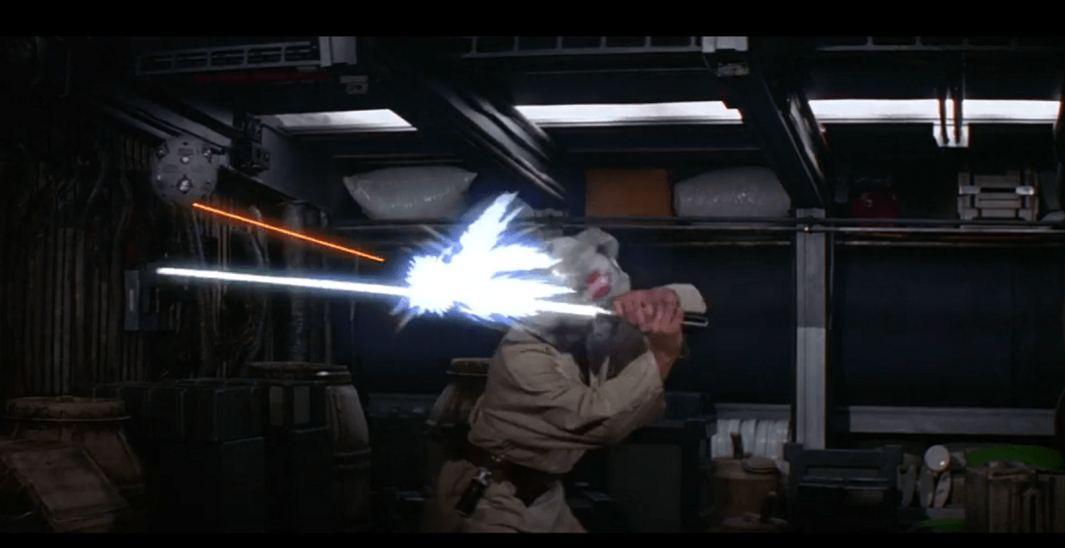 luke deflecting with lightsaber