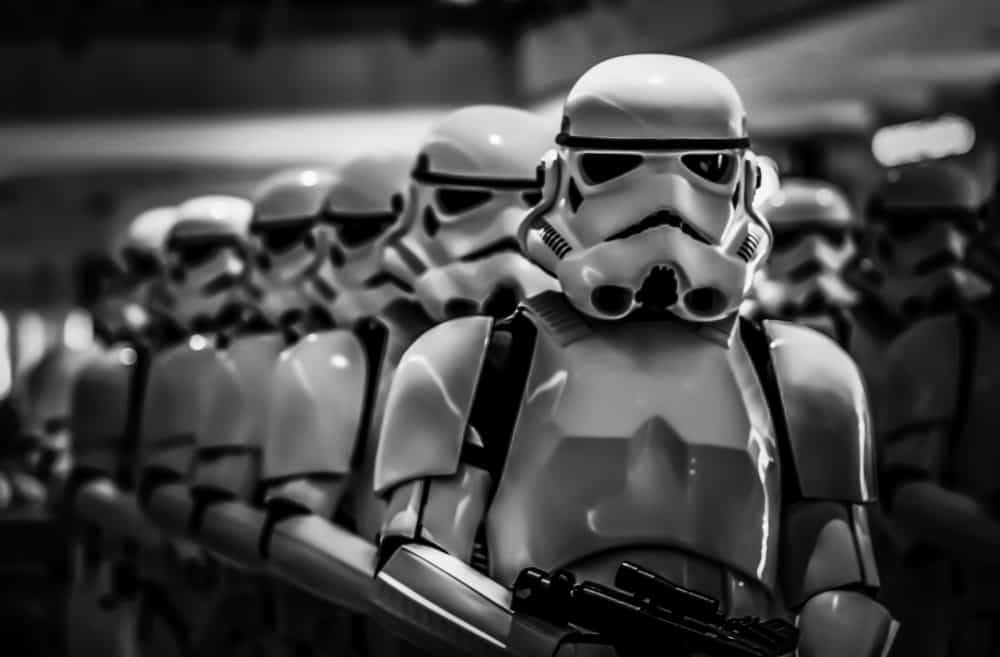 Stormtrooper lining up to get paid